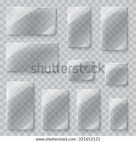 Set of transparent glass plates of different shapes in gray colors. Transparency only in vector file - stock vector