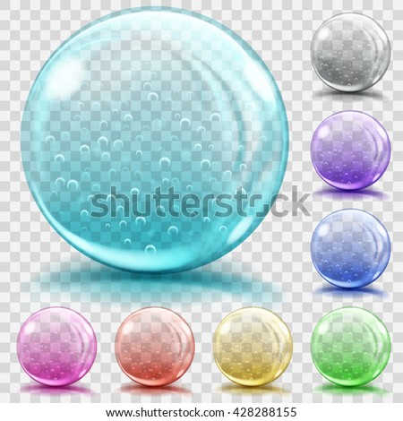 Set of transparent glass spheres of various colors with air bubbles, glares and shadows. Transparency only in vector file - stock vector