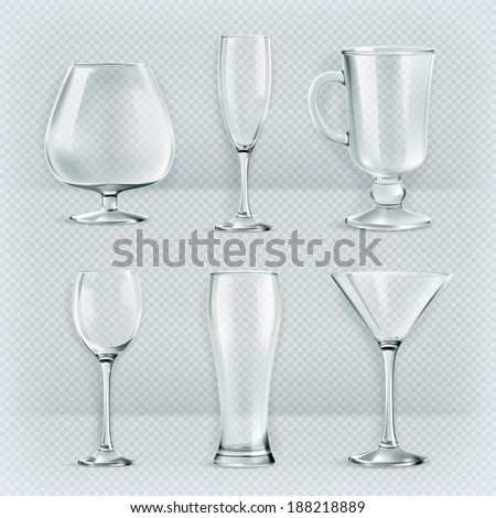 Set of transparent glasses goblets, cocktail glasses collection, vector illustration, icons - stock vector