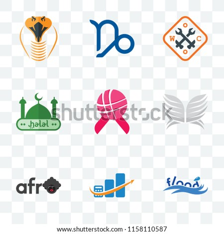 Set 9 Transparent Icons Such Flood Stock Vector (Royalty