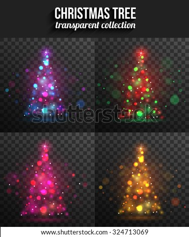 Set of transparent shining christmas trees for holiday design. Christmas background with bokeh. Vector illustration. - stock vector