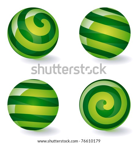 Set of Transparent Striped Spherical Icons. Vector Illustration - stock vector