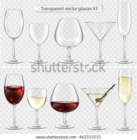 Set of transparent vector glass goblets for wine bar. Drinks of wine, brandy, champagne, martini
