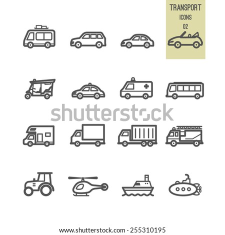 Set of transport icon. Vector illustration.