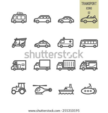 Set of transport icon. Vector illustration. - stock vector
