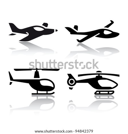 Set of transport icons - airplane and helicopter - stock vector