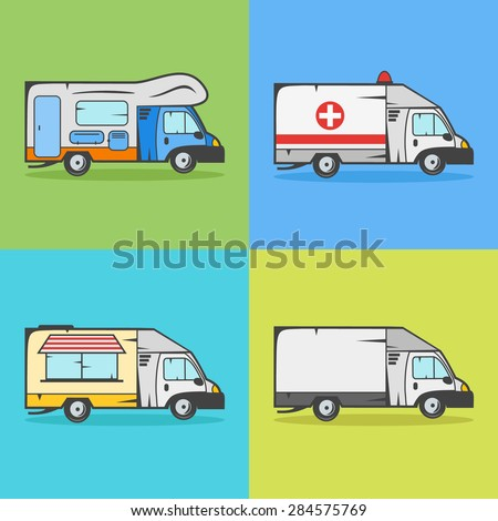 Set of transport icons. Camper, ambulance, food truck and cargo truck. - stock vector