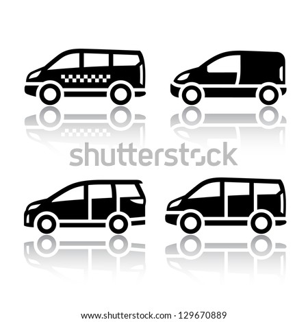 Set of transport icons - Cargo van, vector illustration on a white background - stock vector