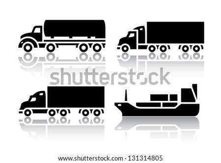 Set of transport icons - Freight transport, vector illustration - stock vector