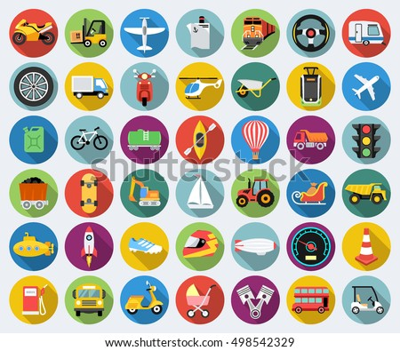 Set of transport icons in flat design with long shadows