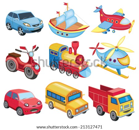 set of transport icons isolated on white (vector illustration) - stock vector