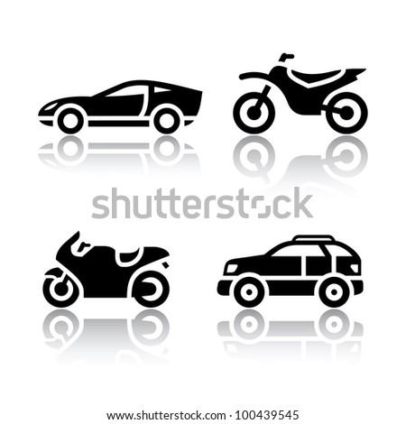 Set of transport icons - sports transportation - stock vector