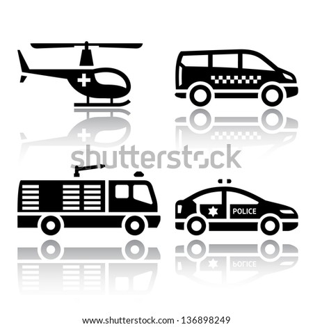 Set of transport icons - transport services, vector illustrations, set silhouettes isolated on white background. - stock vector