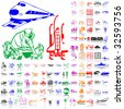 Set of transport. Part 2. Isolated groups and layers. Global colors. - stock