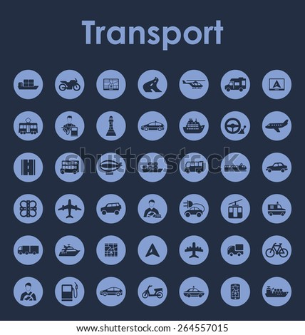 Set of transport simple icons - stock vector
