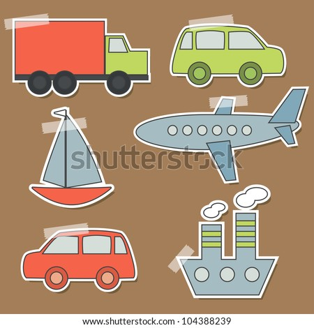 Set of transport stickers for babies - stock vector
