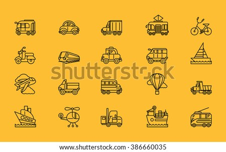 Set of transport thin, lines, outline, strokes icons. Different kinds of transport airplane, bicycle, train, automobile, balloon, ship, sailboat black on yellow. For web mobile applications  - stock vector
