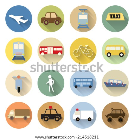 set of transportation icon flat style with long shadow - stock vector