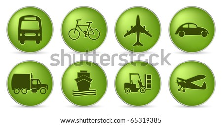 set of transportation in green color - stock vector