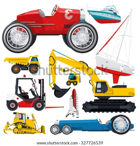 Set of transportation on white ground work machine vehicle red blue car airplane boat truck digger crane forklift small bagger roller excavator space shuttle flatten isolated illustration vector