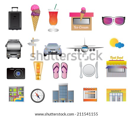 Set of travel and holiday icons - stock vector