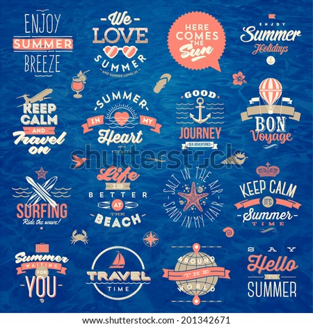 Set of travel and summer vacation type design - vector illustration - stock vector
