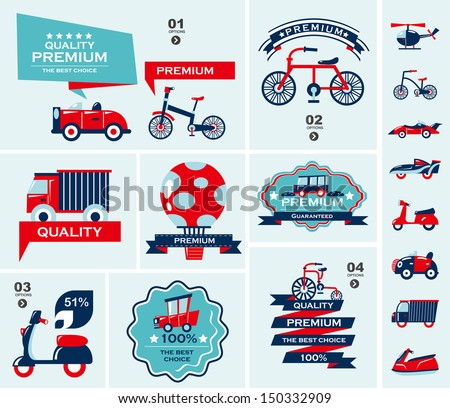 set of travel banners - stock vector