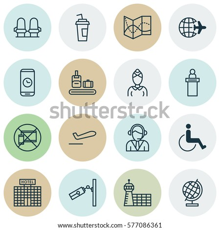 Set 16 Travel Icons Includes Hostess Stock Photo Photo Vector