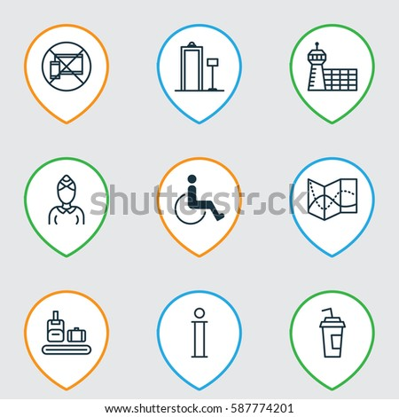 Set 9 Travel Icons Includes Hostess Stock Vector 587774201