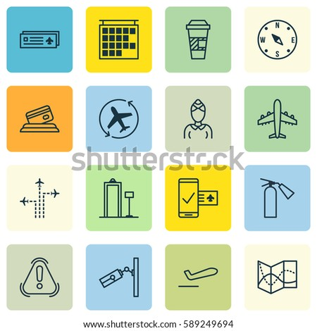 Set 16 Travel Icons Includes Hostess Stock Vector Hd Royalty Free