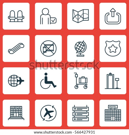 Set 16 Travel Icons Includes Road Stock Vector 566427931 Shutterstock