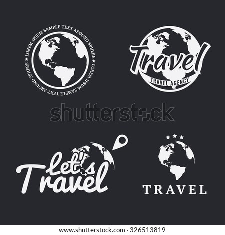 Set of travel icons, logos, emblems, labels, badges and design templates with monochrome earth map. Vector. - stock vector