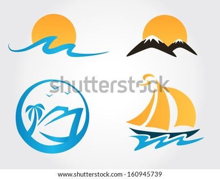 set of travel icons mountains, waves, yacht - stock vector