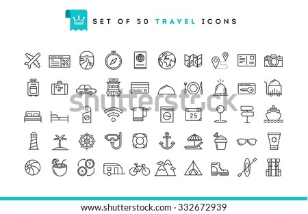 Set of 50 travel icons, thin line style, vector illustration  - stock vector