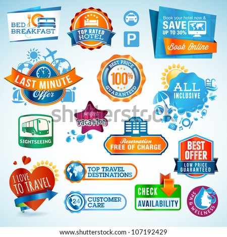 Set of travel labels and stickers - stock vector