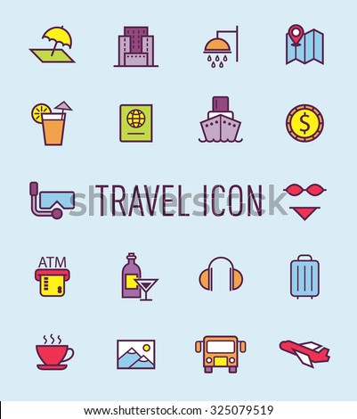 set of travel line icon - stock vector