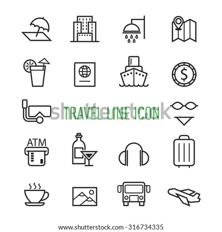 set of travel line icon isolated on white background - stock vector
