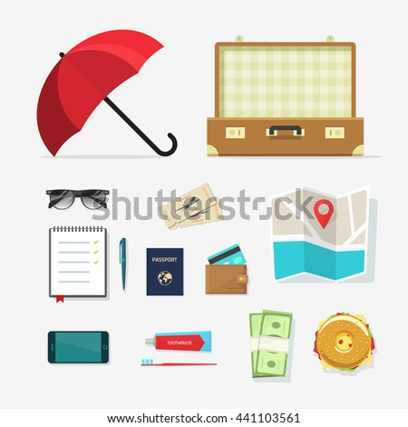 Set of travel things vector icons, required baggage items to travel with, travel packing, planning summer vacation, tourism and journey adventure flat cartoon objects isolated on white background  - stock vector