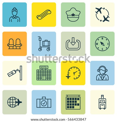 Set 16 Traveling Icons Includes Hostess Stock Vector 566433847