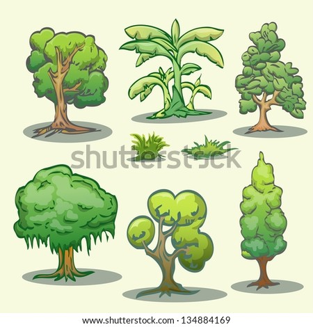 set of tree cartoon hand draw isolated - stock vector