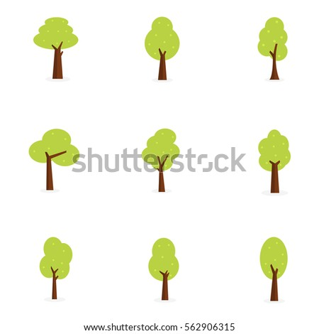 Set of tree collection vector art illustration