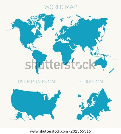 Set of tree flat maps on white background (World map, American map, Europe map), vector illustration - stock vector