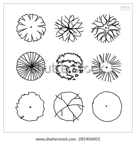 Set of tree plan symbols for use in architectural design and landscape design - Vector illustration - stock vector