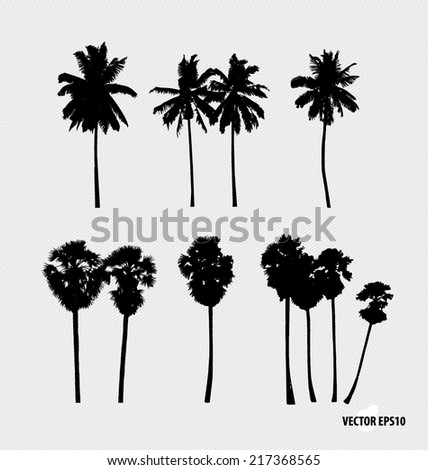 Set of tree silhouettes. Vector illustration.  - stock vector