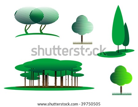 Set of tree symbols as a signs - abstract emblem or logo template. Forest or garden icons