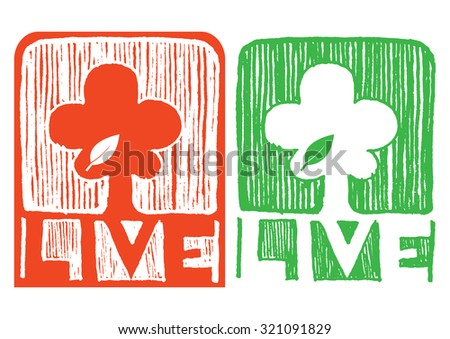 set of tree with live text symbol of environmental isolated on white - stock vector