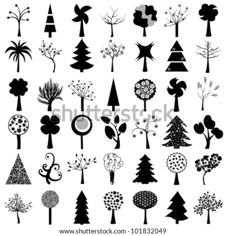 Set of trees - stock vector