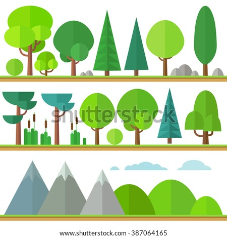 Set of trees and bushes in a flat style. Stylish trees and other environmental elements. - stock vector