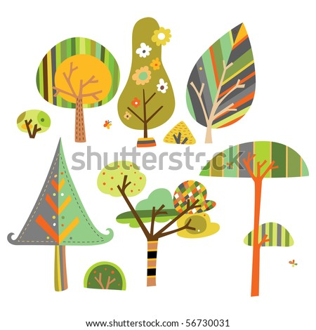 Set of trees created in contemporary style with whimsical shapes and fun colors. - stock vector