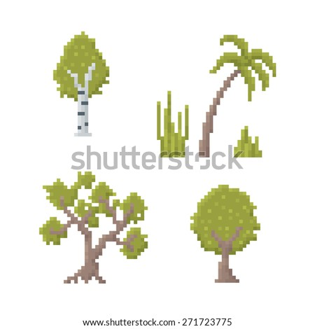 Set of Trees Isolated on White - Old School Pixel Art Illustration
